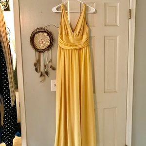 Soft pale butter yellow v neck maxi dress